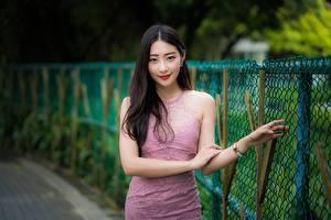 Fotos Asiatisches Pose Hand Kleid Lächeln Starren Bokeh Brünette Zaun junge frau