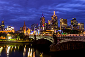 Pictures Australia Melbourne Houses Rivers Bridge Street lights Night time Cities