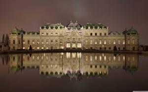 Fotos Österreich Wien Palast Nacht Reflexion Belvedere