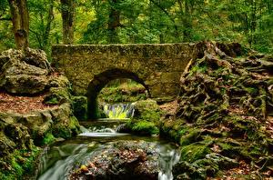 Wallpapers Autumn Bridges Stones Stream Moss HDR Nature