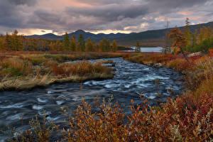 Bilder Herbst Wälder Gebirge Fluss Landschaftsfotografie Russland Kalmykia Natur