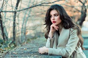 Fotos & Bilder Bokeh Pose Haar Brünette Schön Mädchens