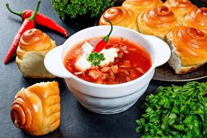 Hintergrundbilder Borschtsch Brötchen Chili Pfeffer Saure Sahne Teller
