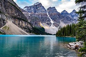 Hintergrundbilder Kanada Park Berg See Steine Banff Lake Moraine Natur