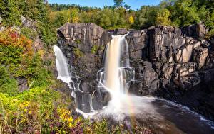 Hintergrundbilder Kanada Wasserfall Felsen Pigeon River High Falls Natur