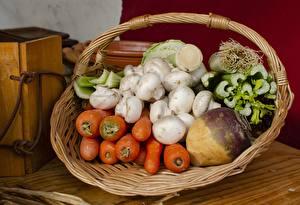 Hintergrundbilder Mohrrübe Rote Rübe Pilze Zucht-Champignon Weidenkorb Lebensmittel