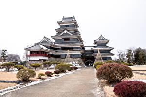 Papel de Parede Desktop Castelo Japão Arbusto Matsumoto Castle, Nagano prefecture Cidades