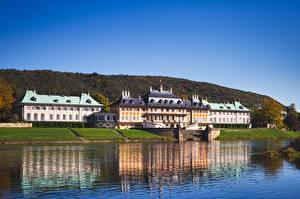 Fonds d'écran Château fort Rivières Allemagne Dresde castle Pillnitz, Saxony, Elbe river