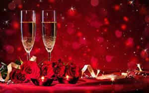 Bilder Schaumwein Rosen Valentinstag Weinglas Blumen