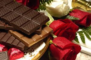 Bakgrunnsbilder Sjokolade Sjokoladeplate Roser