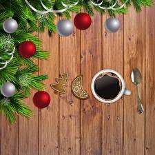 Wallpapers Coffee Christmas Cup Spoon Balls Branches Template greeting card Boards
