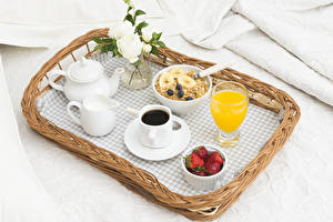 Image Coffee Roses Milk Juice Muesli Strawberry Breakfast Cup Highball glass Tray Food