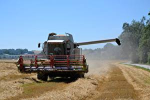 Pictures Combine harvester Fields Agricultural machinery Straw
