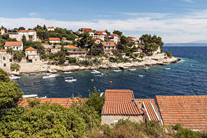 Pictures Croatia Building Berth Motorboat Bay Roof Prigradica Cities