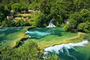 Fotos Kroatien Parks Wasserfall Flusse Strauch Krka National Park Natur