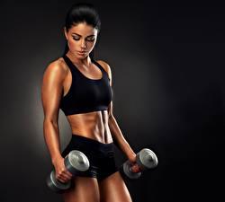 Bilder Fitness Hantel Model Körperliche Aktivität Sport Mädchens
