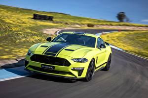 Hintergrundbilder Ford Hellgrüne Fahrendes Mustang AU-Spec R-Spec 2019 Australia version auto