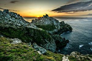 Hintergrundbilder Frankreich Küste Sonnenaufgänge und Sonnenuntergänge Meer Felsen Brittany Natur