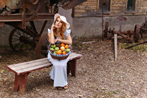 Picture Fruit Bench Dress Sit Hat Wicker basket young woman