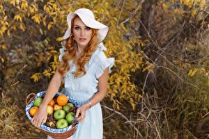 Images Fruit Pose Dress Hat Redhead girl Wicker basket female
