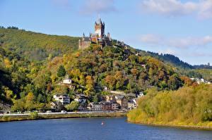 Bilder Deutschland Flusse Herbst Burg Cochem Hügel river Moselle, Reichsburg castle Städte