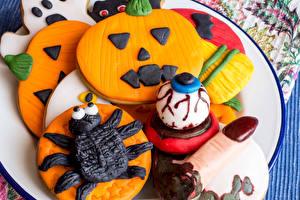 Pictures Halloween Cookies Pumpkin Design Food
