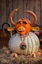 Picture Halloween Creative Pumpkin Bulls Design Horns Straw