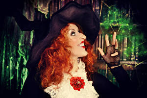 Images Halloween Fingers Witch Redhead girl Hat Smile young woman