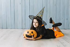 Image Halloween Pumpkin Witch Little girls Uniform Smile Glance Hat Laying Children