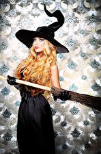 Photo Halloween Witch Blonde girl Hat female