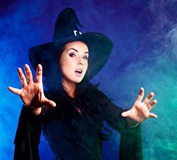 Wallpaper Halloween Witch Brunette girl Hat Hands Staring Girls