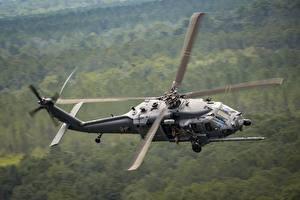 Sfondi desktop Elicotteri Sfondo sfocato Volo HH-60g Pave hawk