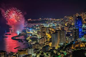 Pictures Building Fireworks Monaco Night Bay From above Cities