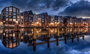 Fotos Gebäude Niederlande Kanal Spiegelung Spiegelbild Haarlem, North Holland