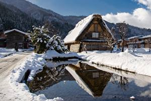 Pictures Japan Houses Winter Pond Snow Shirakawa Go Cities