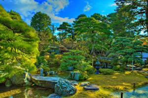 Bilder Japan Park Kyōto Stein Strauch HDR Bäume Bach Imperial Palace gardens Natur