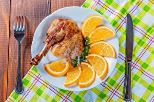Hintergrundbilder Messer Hühnerbraten Orange Frucht Teller Essgabel Geschnitten