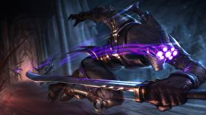Wallpapers LOL Warriors Run Swords Assassin Master Yi vdeo game Fantasy