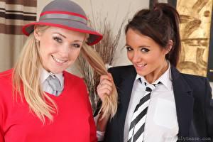 Desktop wallpapers Lucy Anne Brooks Sarah-Jayne Jessop 2 Blonde girl Brown haired Staring Smile Hands Necktie Girls