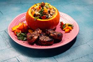 Bilder Fleischwaren Kürbisse Gemüse Reis Teller das Essen