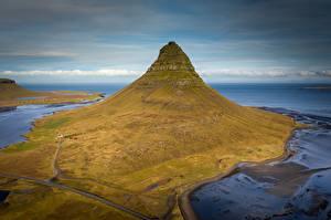 Fotos Berg Island Von oben Kirkjufell Natur