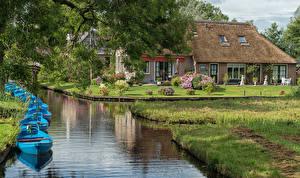 Hintergrundbilder Niederlande Haus Schiffsanleger Boot Kanal Giethoorn Overijssel