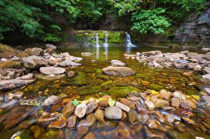 Bilder Park Steine Wasserfall England Bach Natur