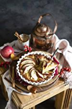 Bilder Backware Obstkuchen Zimt Äpfel Flötenkessel das Essen