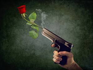 Wallpaper Pistol Rose Hands Smoke flower