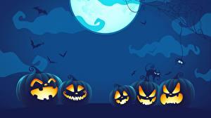 Bilder Kürbisse Vektorgrafik Halloween Mond Nacht