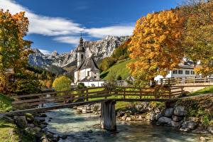 Wallpaper Rivers Bridge Mountain Autumn Germany Church Bavaria St. Sebastian, Ramsau Nature