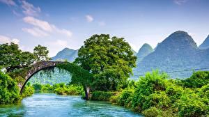 Bilder Flusse Brücken Berg China Guangxi Guilin