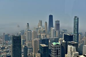 Pictures Skyscrapers USA Fog Megalopolis Chicago city