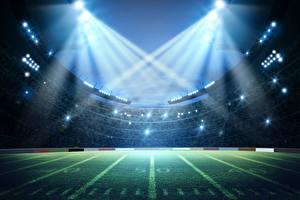 Desktop hintergrundbilder Stadion Rasen Lichtstrahl sportliches